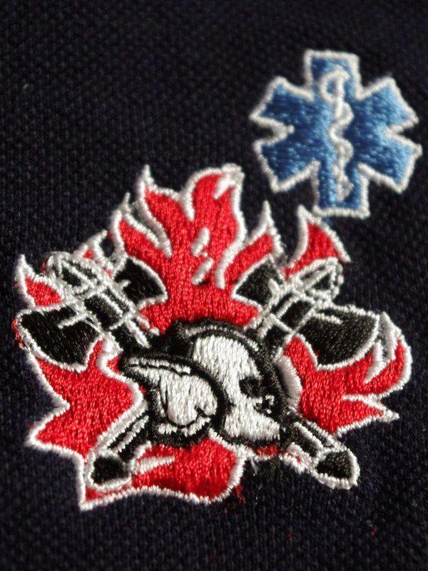 polo met logo oude vlam en nieuwe helm + star of life blauw