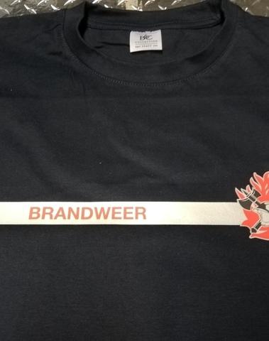"""T-shirt grijze streep en reflecterende opdruk """"BRANDWEER"""""""