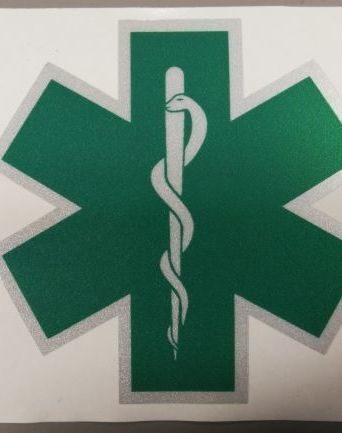 Groene starof life (kenteken verpleegkundige) 8 cm
