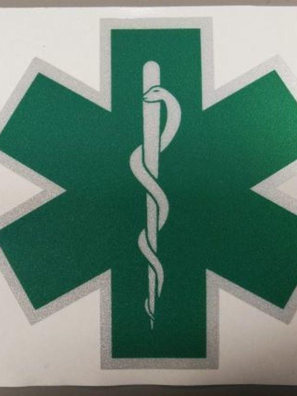 sticker star of life groen verpleegkundige 8 cm