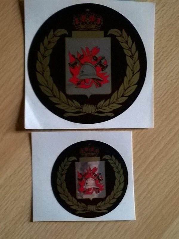 Sticker 5 cm rond retro brandweer