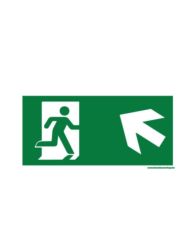 pictogram vluchtweg pvc 15/30 cm schuin-links-op