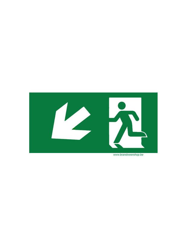pictogram vluchtweg pvc 15/30 cm schuin links neer