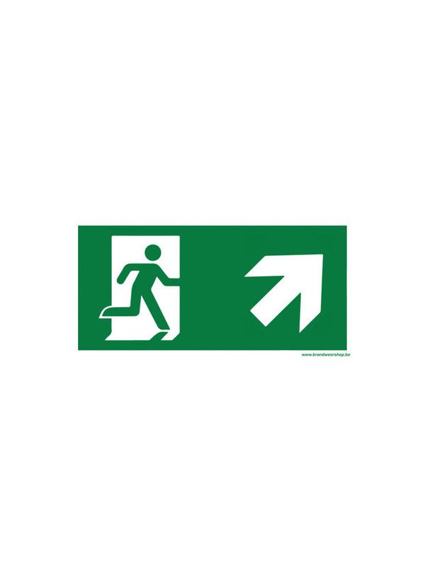 pictogram vluchtweg pvc 15/30 cm schuin rechts op