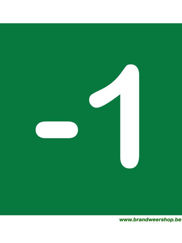 Pictogram verdiepingsnummer pvc 15/15 cm voor verdiep -1