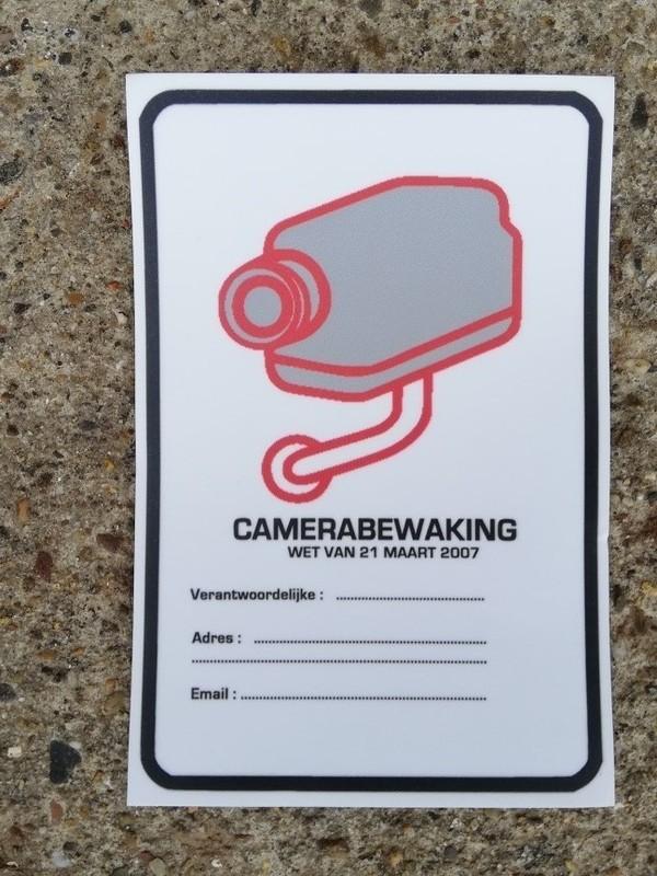 Camera bewaking  verplichte melding  sticker