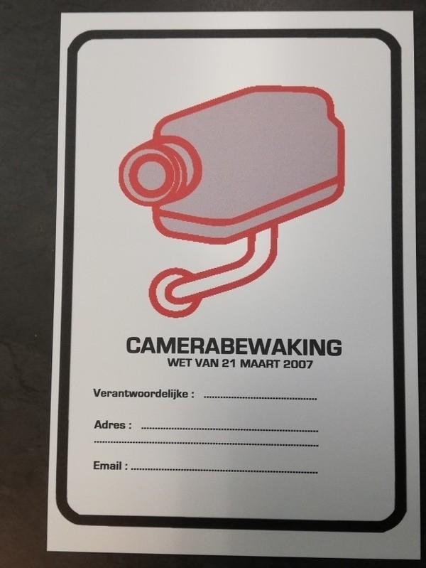 Camera bewaking  verplichte melding  bord A4 formaat