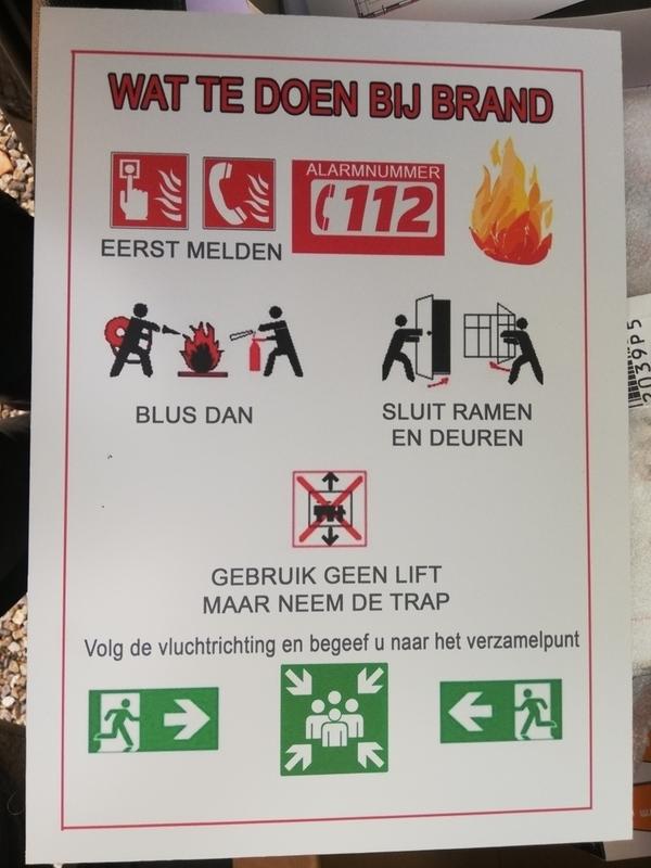 """pictogram  """"Wat te doen bij brand"""""""