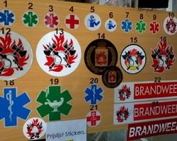 Stickers en autobordjes voor brandweer, ambulance, arts, verpleegkundige